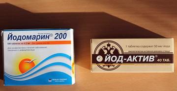 Препараты Йод-актив и Йодомарин