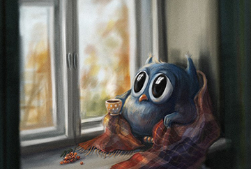 осенняя депрессия и сова у окна